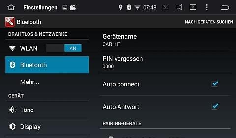 Gerätename und PIN für die Bluetooth-Verbindung