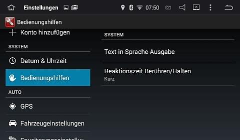 Sprachausgabe und Touchpads ändern